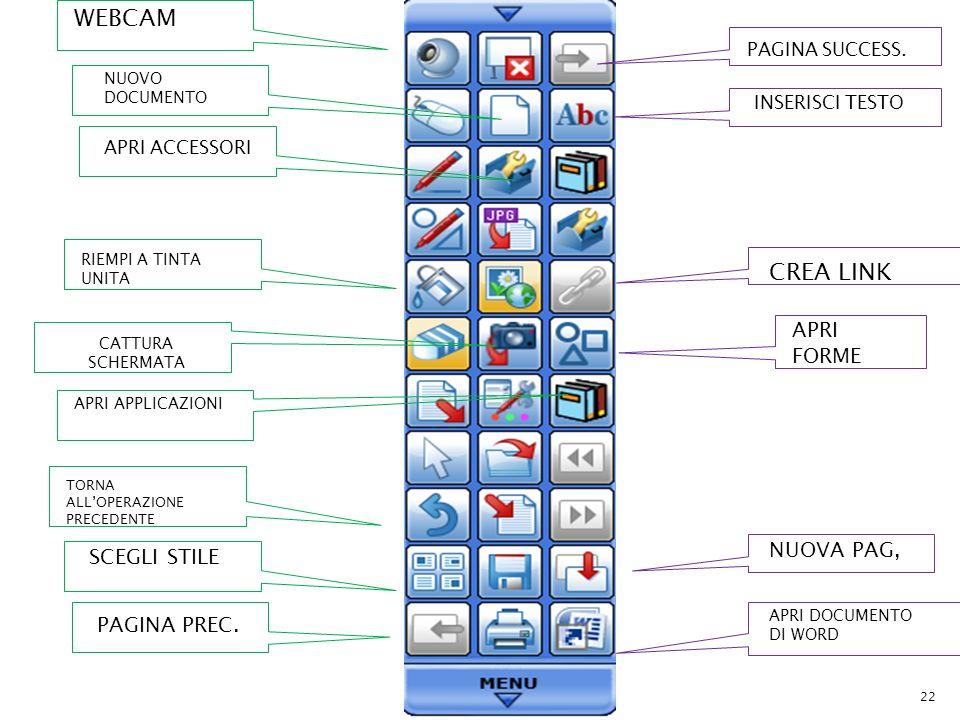 WEBCAM CREA LINK APRI FORME NUOVA PAG, SCEGLI STILE PAGINA PREC.