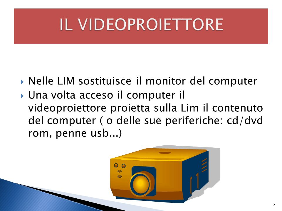 IL VIDEOPROIETTORE Nelle LIM sostituisce il monitor del computer