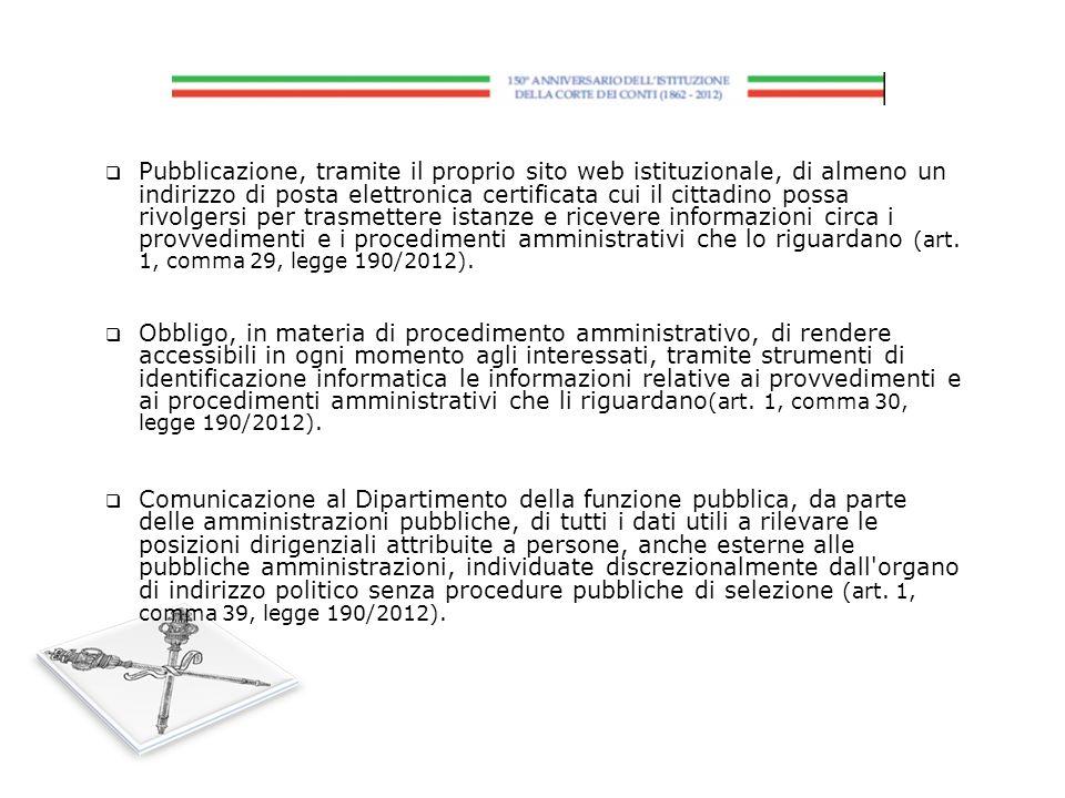 Pubblicazione, tramite il proprio sito web istituzionale, di almeno un indirizzo di posta elettronica certificata cui il cittadino possa rivolgersi per trasmettere istanze e ricevere informazioni circa i provvedimenti e i procedimenti amministrativi che lo riguardano (art. 1, comma 29, legge 190/2012).
