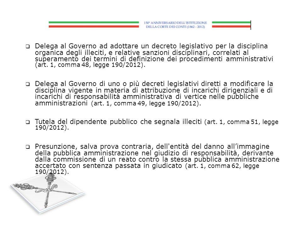 Delega al Governo ad adottare un decreto legislativo per la disciplina organica degli illeciti, e relative sanzioni disciplinari, correlati al superamento dei termini di definizione dei procedimenti amministrativi (art. 1, comma 48, legge 190/2012).
