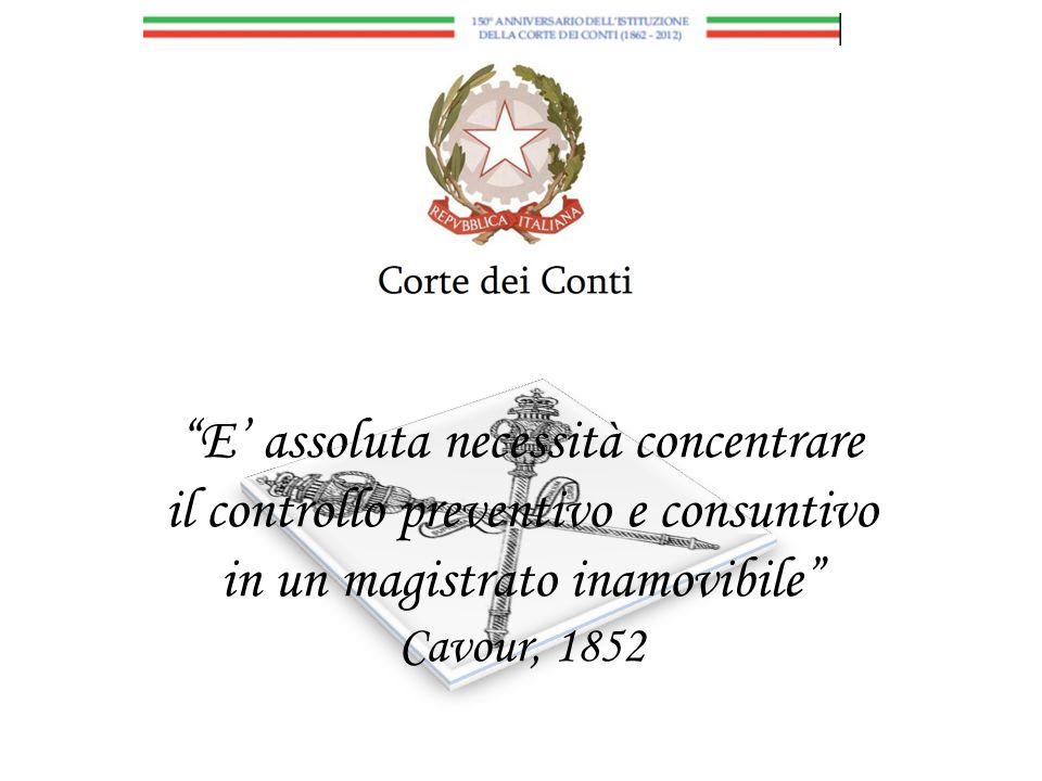 E' assoluta necessità concentrare il controllo preventivo e consuntivo in un magistrato inamovibile Cavour, 1852