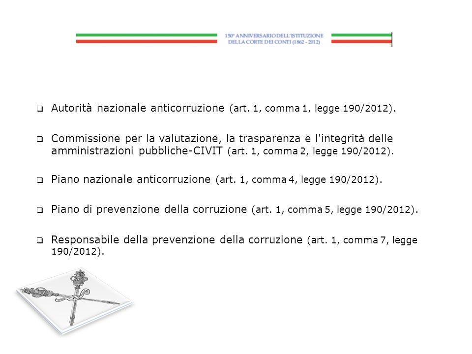Autorità nazionale anticorruzione (art. 1, comma 1, legge 190/2012).