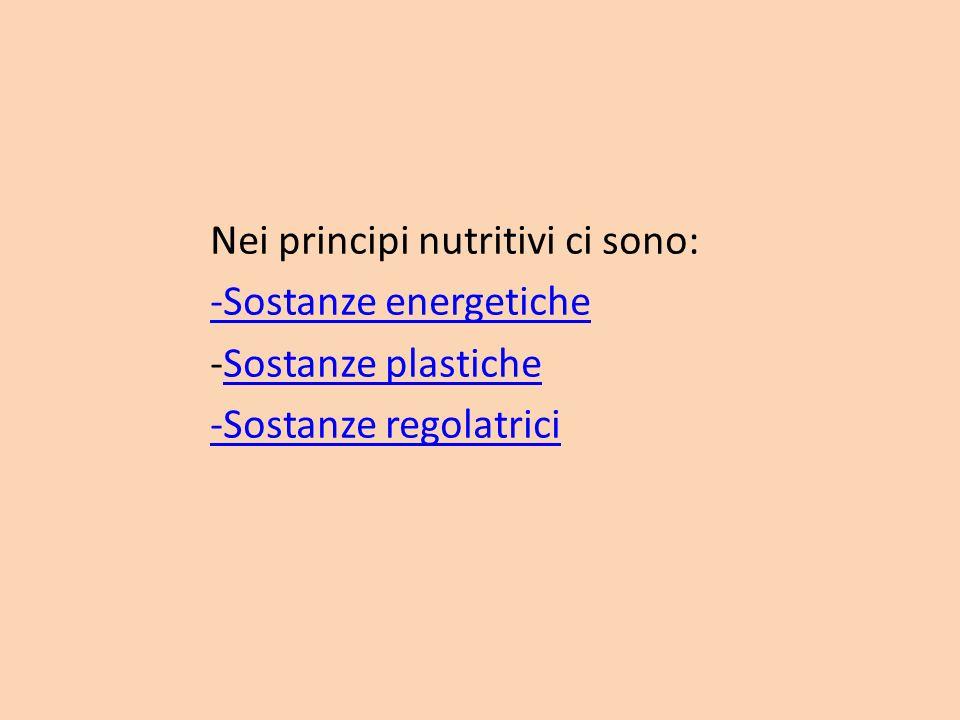 Nei principi nutritivi ci sono: -Sostanze energetiche -Sostanze plastiche -Sostanze regolatrici
