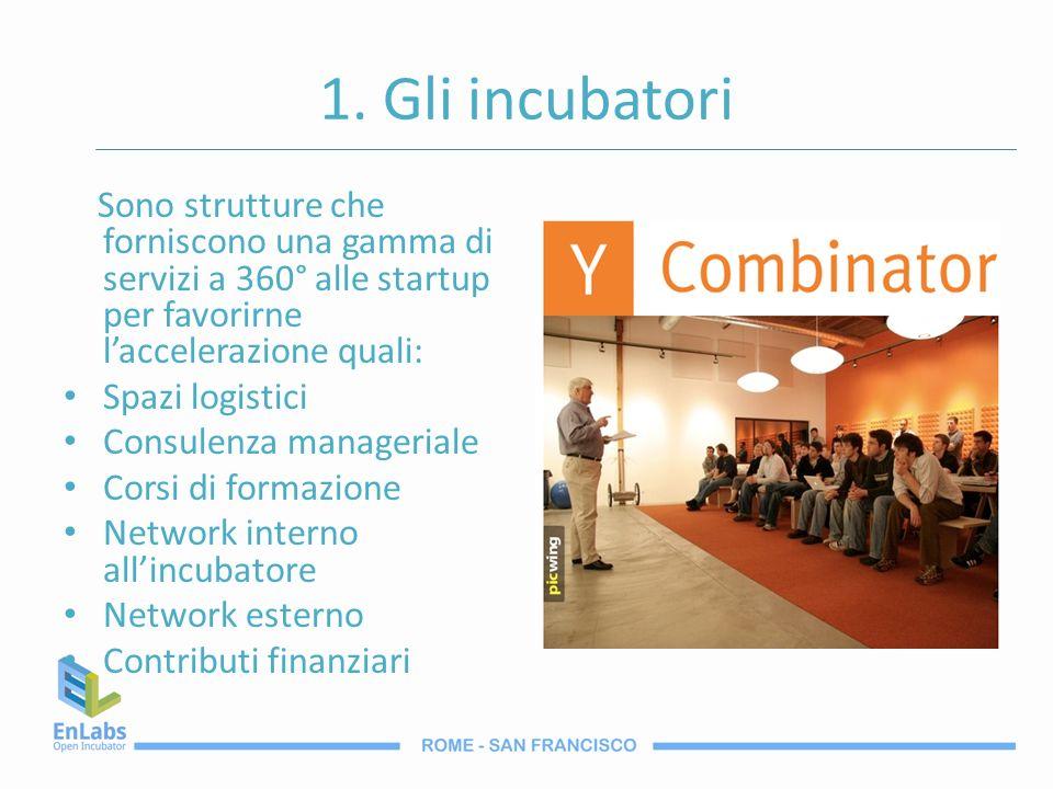 1. Gli incubatori Sono strutture che forniscono una gamma di servizi a 360° alle startup per favorirne l'accelerazione quali: