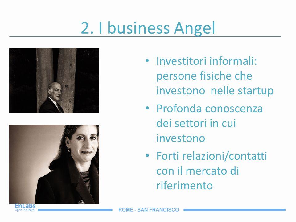 2. I business Angel Investitori informali: persone fisiche che investono nelle startup. Profonda conoscenza dei settori in cui investono.