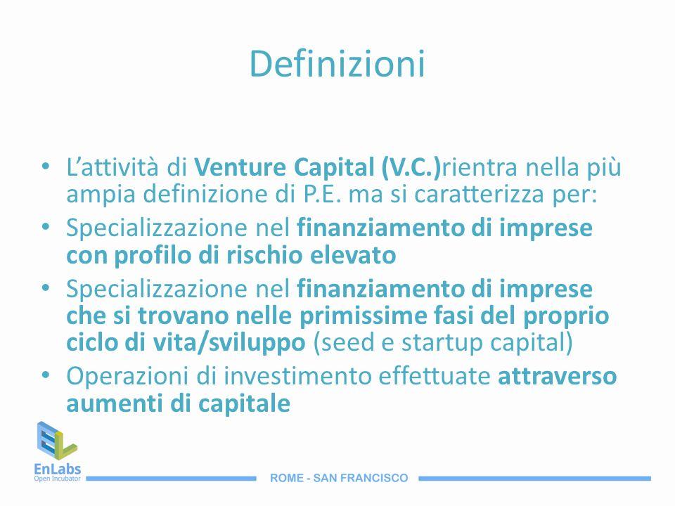 Definizioni L'attività di Venture Capital (V.C.)rientra nella più ampia definizione di P.E. ma si caratterizza per:
