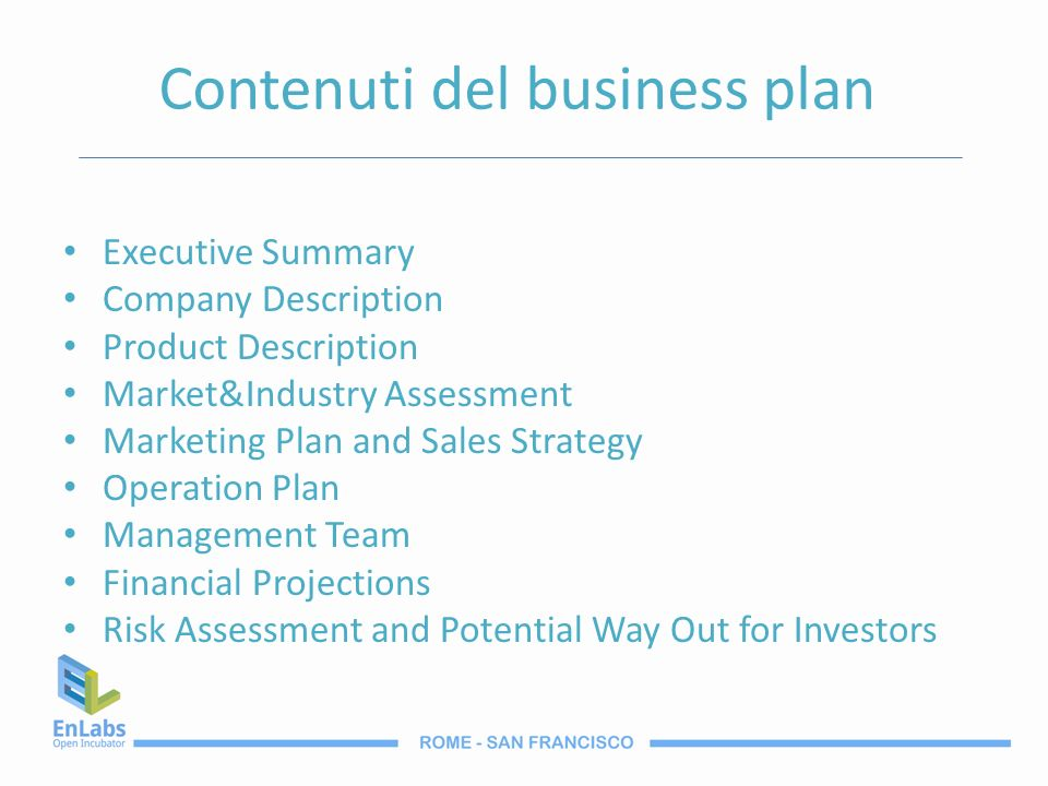 Contenuti del business plan