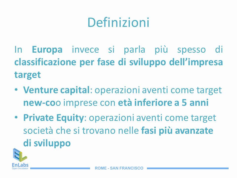 Definizioni In Europa invece si parla più spesso di classificazione per fase di sviluppo dell'impresa target.