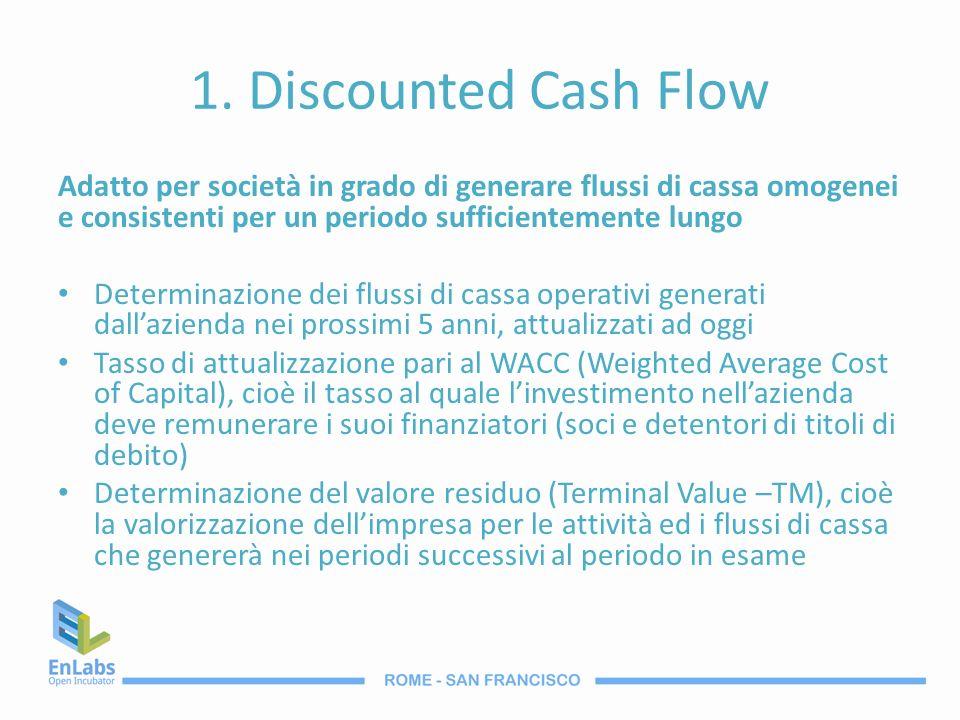 1. Discounted Cash Flow Adatto per società in grado di generare flussi di cassa omogenei e consistenti per un periodo sufficientemente lungo.