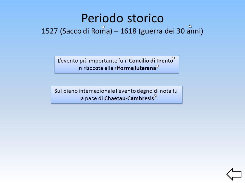 Periodo storico 1527 (Sacco di Roma) – 1618 (guerra dei 30 anni)