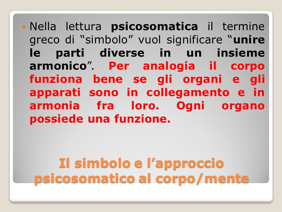 Il simbolo e l'approccio psicosomatico al corpo/mente