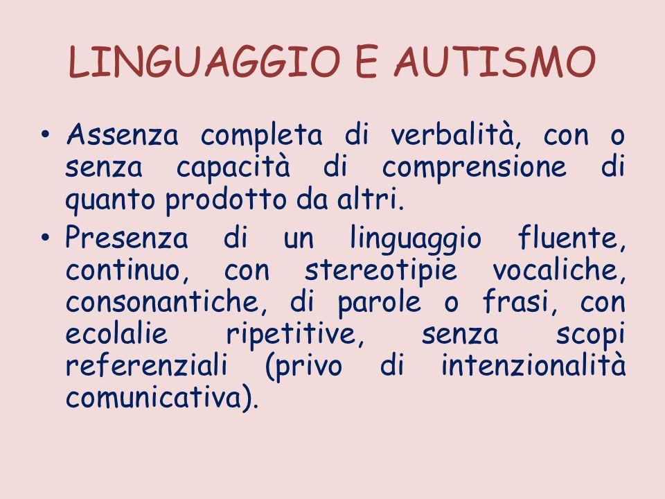 LINGUAGGIO E AUTISMO Assenza completa di verbalità, con o senza capacità di comprensione di quanto prodotto da altri.