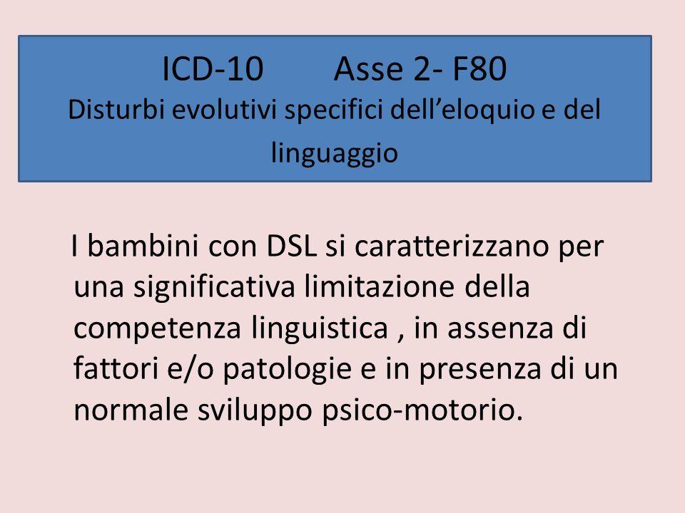 ICD-10 Asse 2- F80 Disturbi evolutivi specifici dell'eloquio e del linguaggio