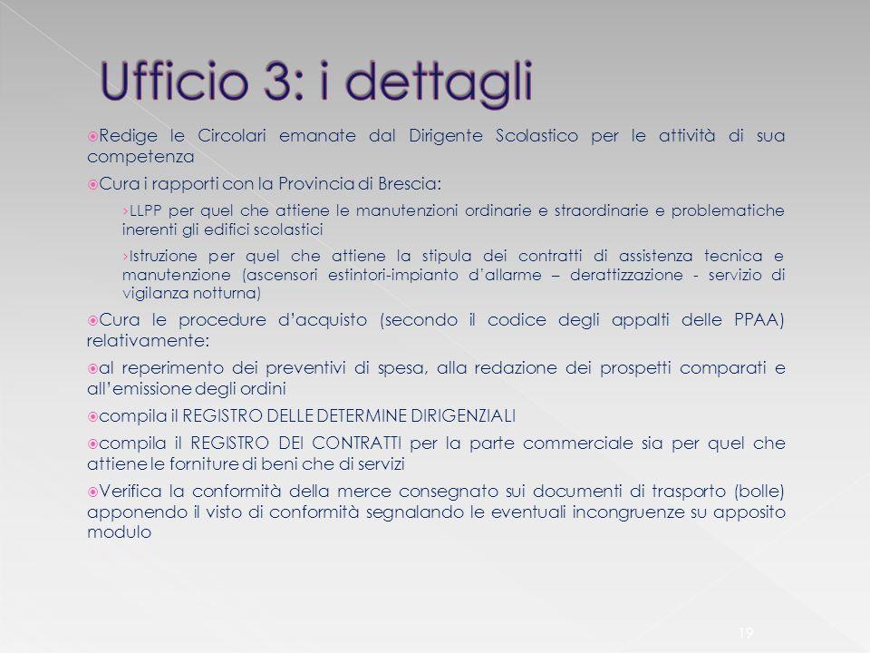 Ufficio 3: i dettagli Redige le Circolari emanate dal Dirigente Scolastico per le attività di sua competenza.