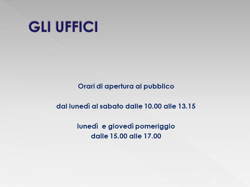 Orari di apertura al pubblico lunedì e giovedì pomeriggio