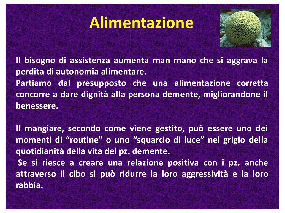Alimentazione Il bisogno di assistenza aumenta man mano che si aggrava la perdita di autonomia alimentare.