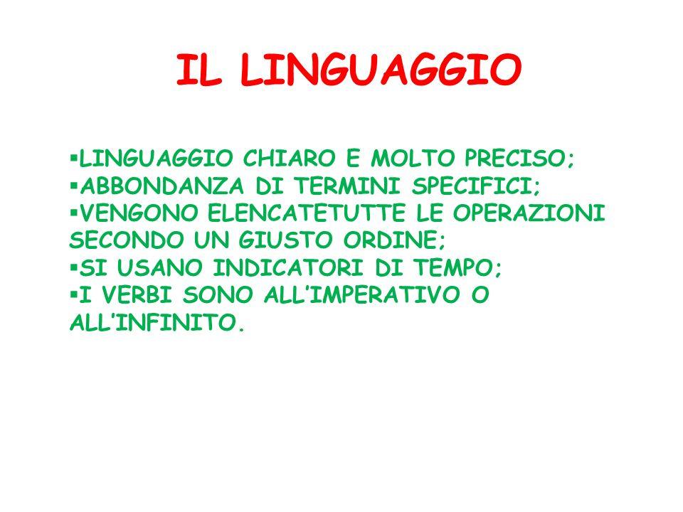 IL LINGUAGGIO LINGUAGGIO CHIARO E MOLTO PRECISO;