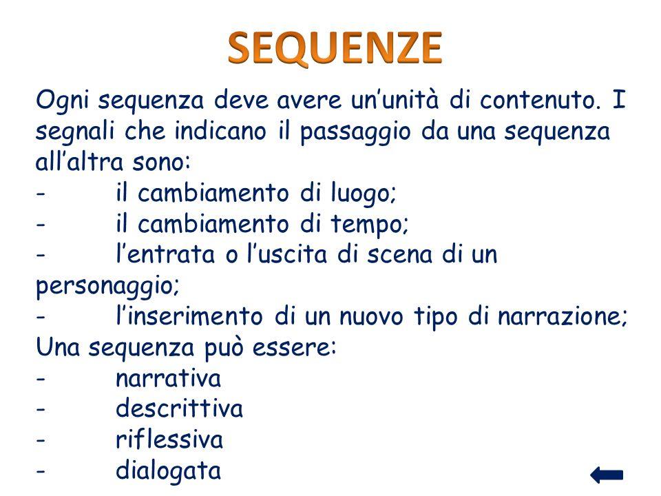 SEQUENZE Ogni sequenza deve avere un'unità di contenuto. I segnali che indicano il passaggio da una sequenza all'altra sono: