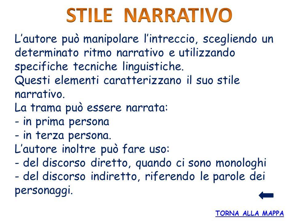 STILE NARRATIVO L'autore può manipolare l'intreccio, scegliendo un determinato ritmo narrativo e utilizzando specifiche tecniche linguistiche.