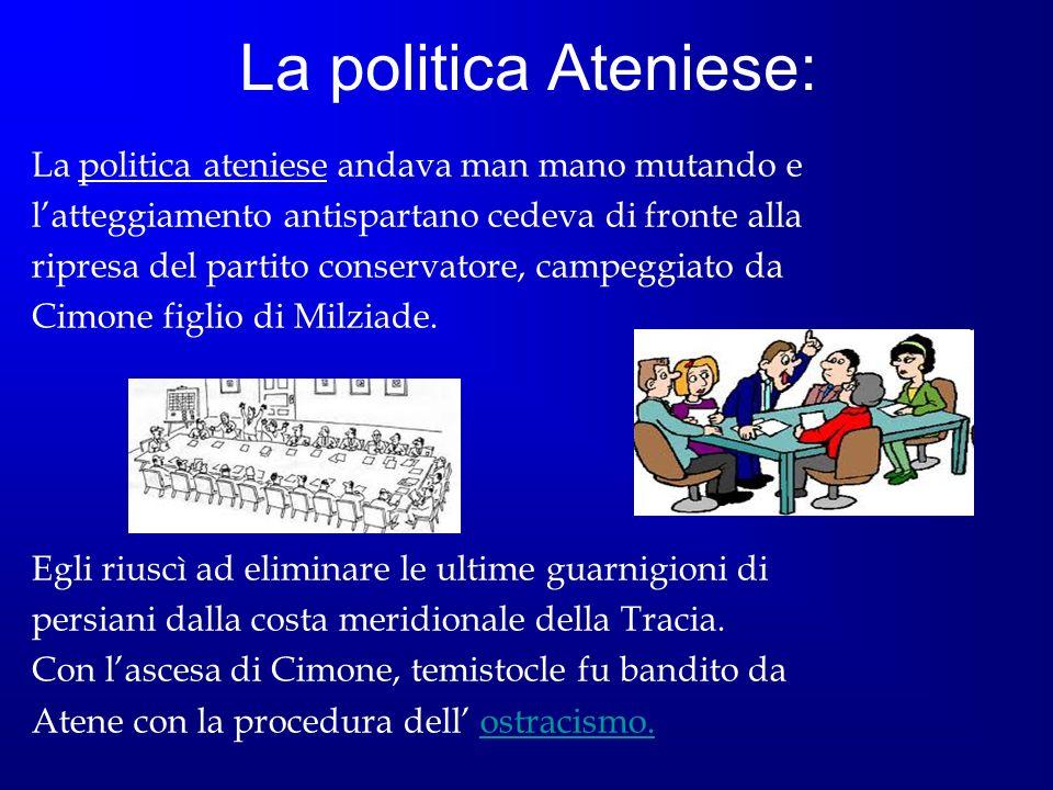 La politica Ateniese: La politica ateniese andava man mano mutando e