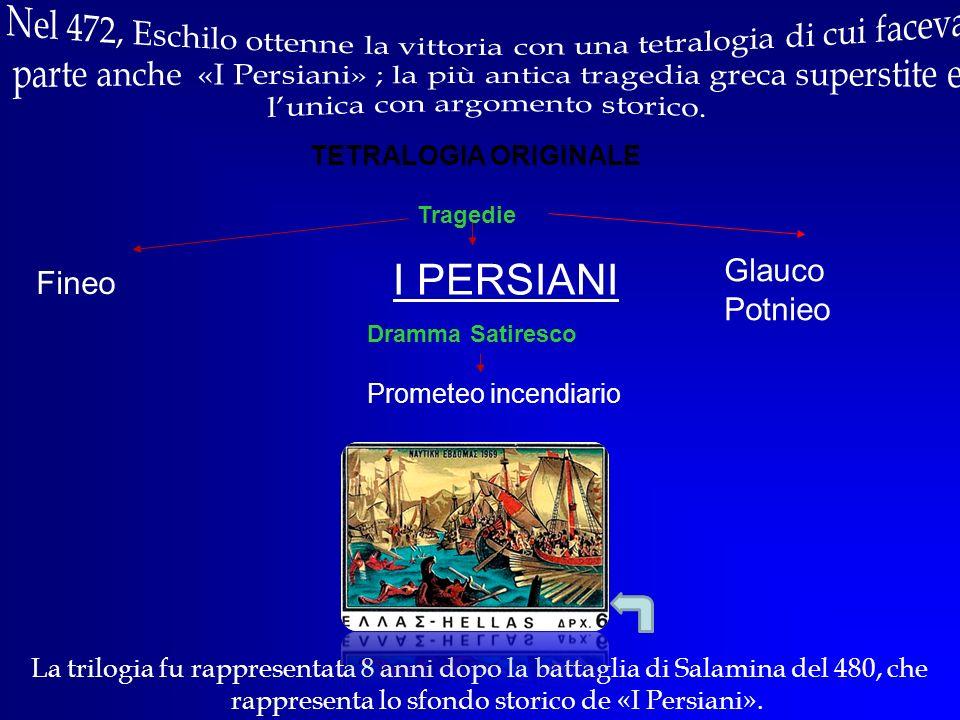 Nel 472, Eschilo ottenne la vittoria con una tetralogia di cui faceva parte anche «I Persiani» ; la più antica tragedia greca superstite e l'unica con argomento storico.
