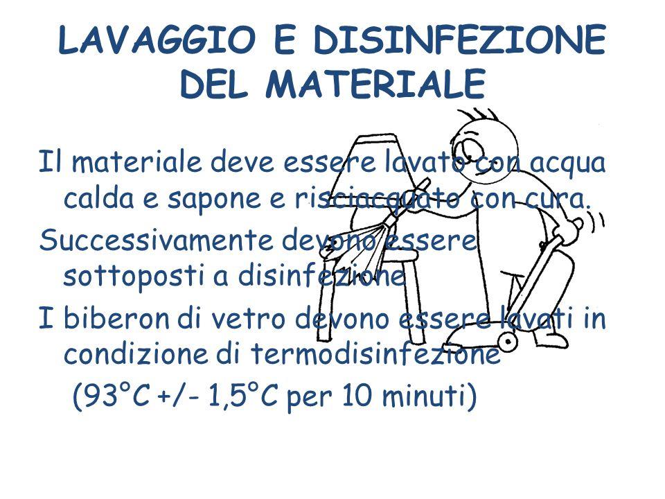 LAVAGGIO E DISINFEZIONE DEL MATERIALE