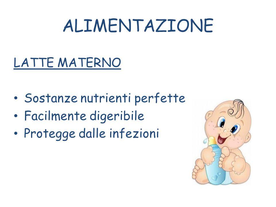 ALIMENTAZIONE LATTE MATERNO Sostanze nutrienti perfette