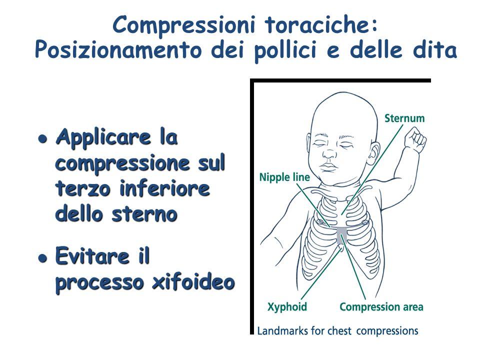 Compressioni toraciche: Posizionamento dei pollici e delle dita