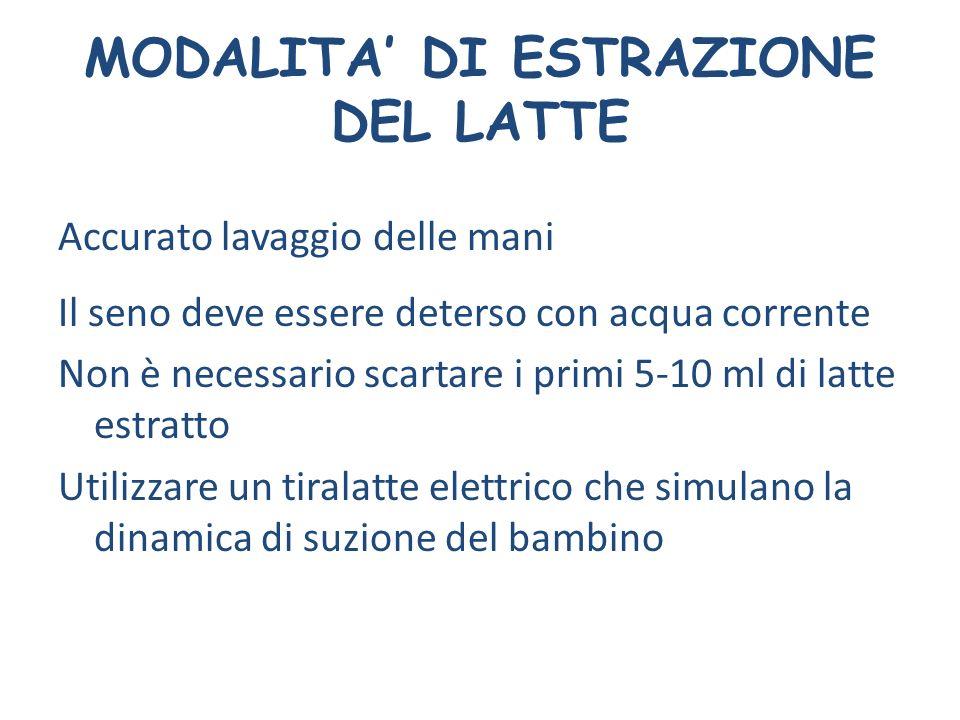 MODALITA' DI ESTRAZIONE DEL LATTE