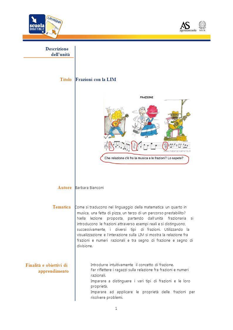 Titolo Frazioni con la LIM