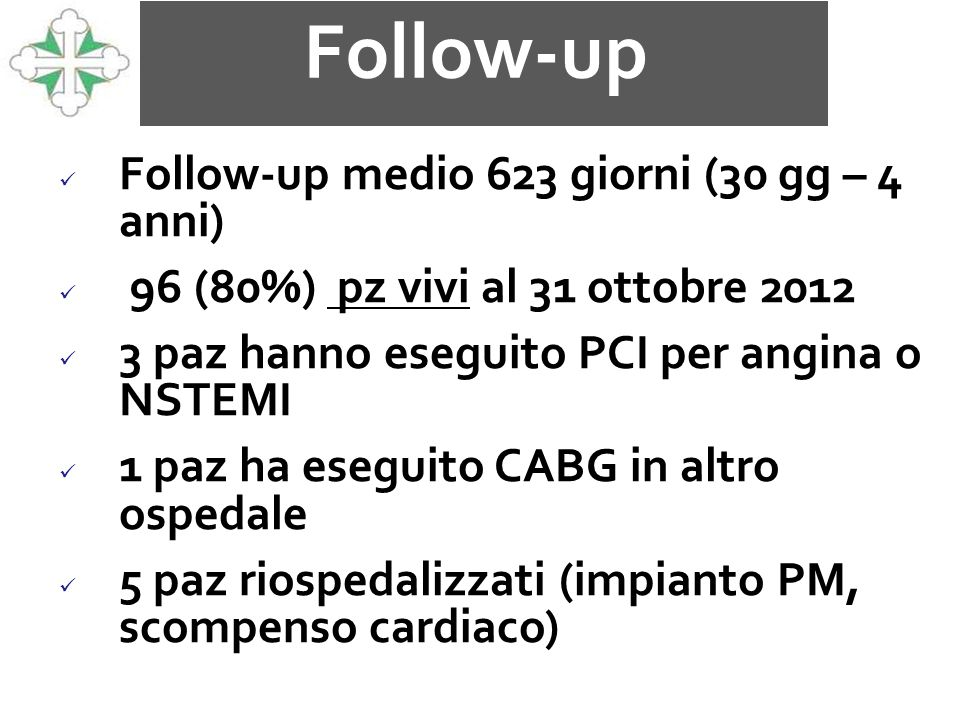Follow-up Follow-up medio 623 giorni (30 gg – 4 anni)