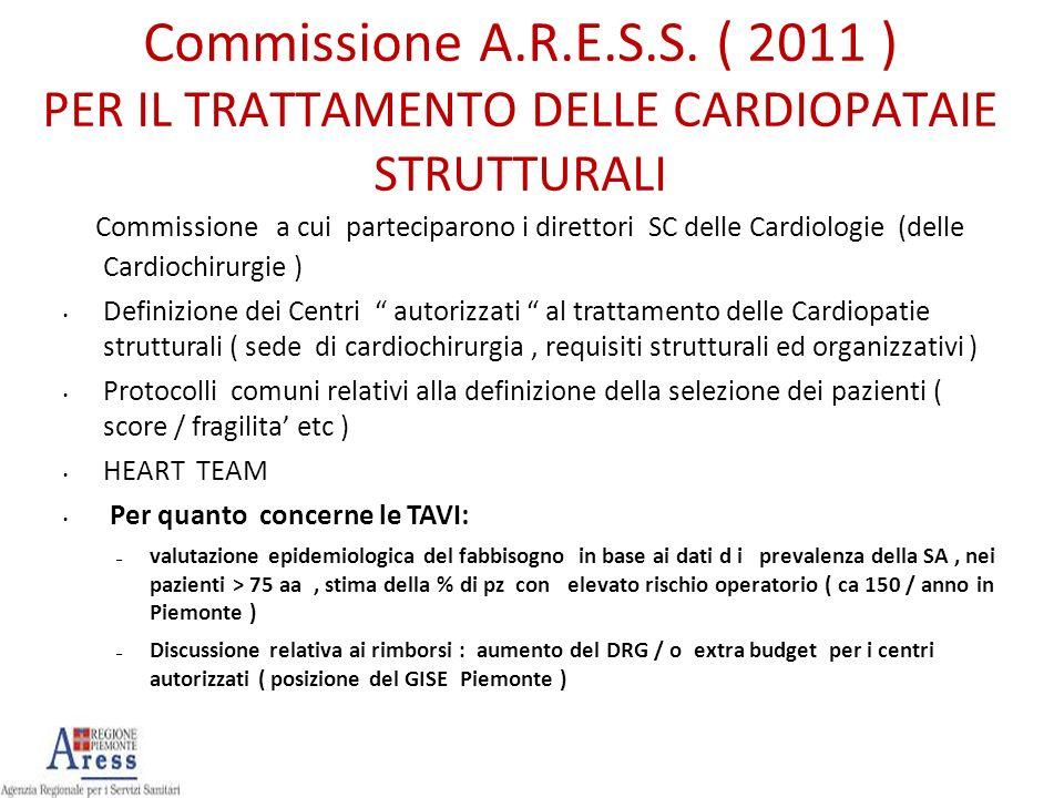 Commissione A.R.E.S.S. ( 2011 ) PER IL TRATTAMENTO DELLE CARDIOPATAIE STRUTTURALI