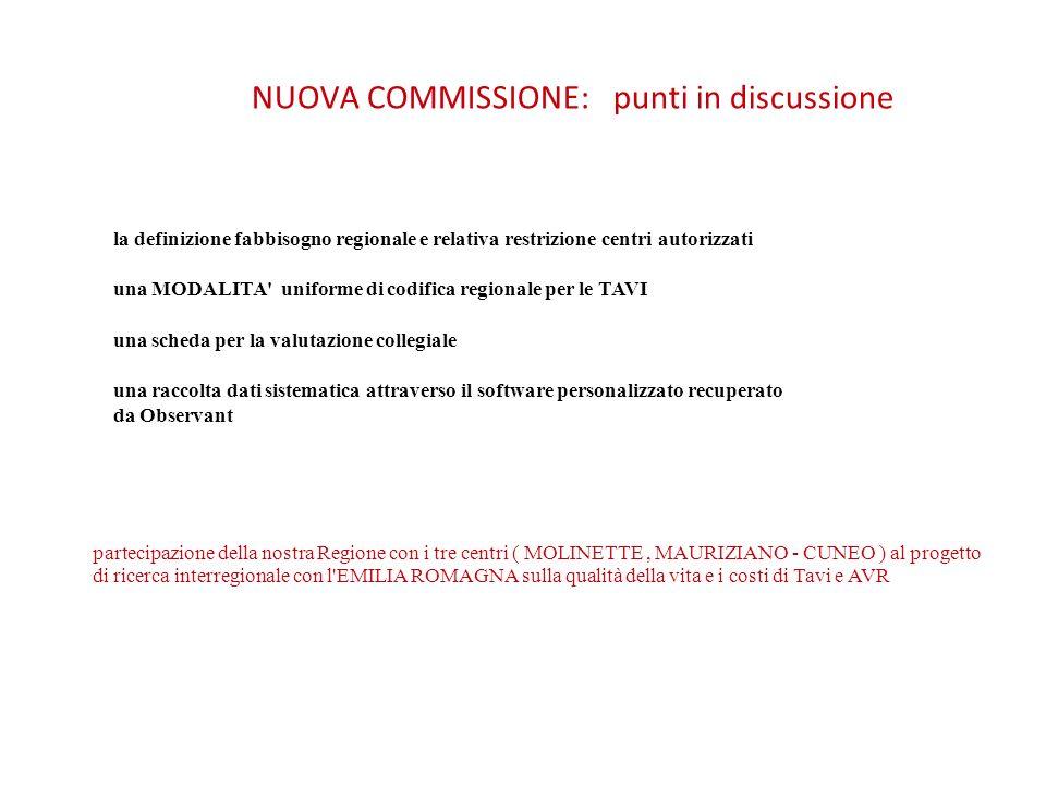 NUOVA COMMISSIONE: punti in discussione