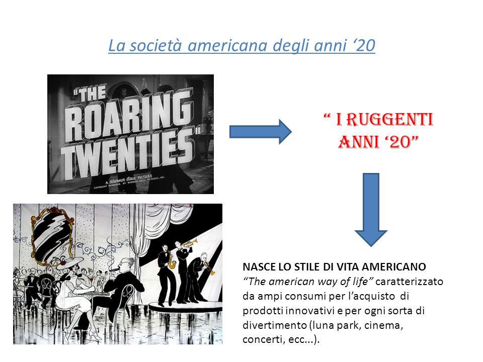 La società americana degli anni '20
