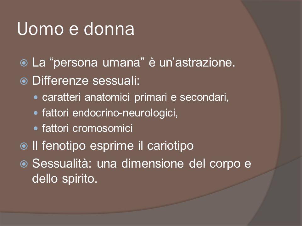 Uomo e donna La persona umana è un'astrazione. Differenze sessuali: