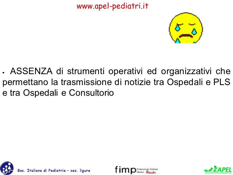 · ASSENZA di strumenti operativi ed organizzativi che permettano la trasmissione di notizie tra Ospedali e PLS e tra Ospedali e Consultorio