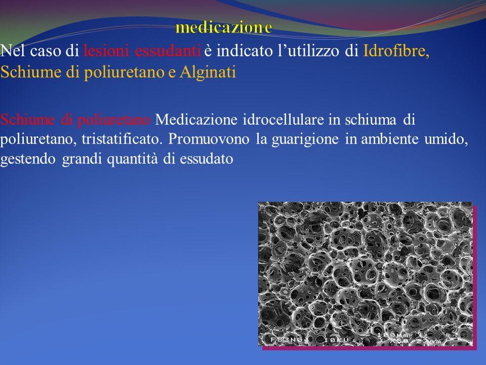 medicazione Nel caso di lesioni essudanti è indicato l'utilizzo di Idrofibre, Schiume di poliuretano e Alginati.