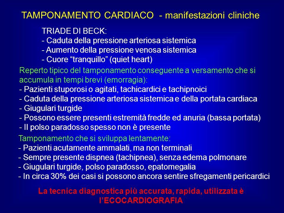TAMPONAMENTO CARDIACO - manifestazioni cliniche