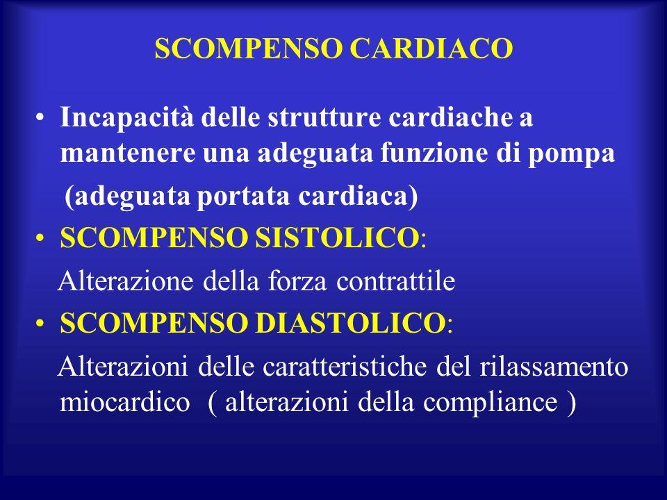 SCOMPENSO CARDIACO Incapacità delle strutture cardiache a mantenere una adeguata funzione di pompa.