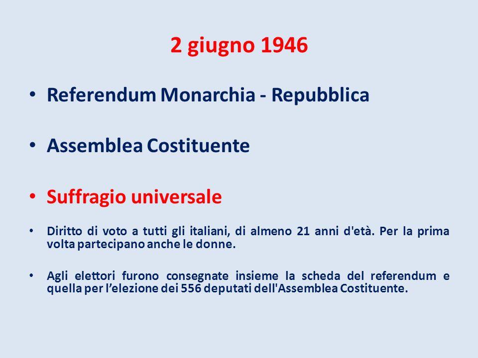 2 giugno 1946 Referendum Monarchia - Repubblica Assemblea Costituente