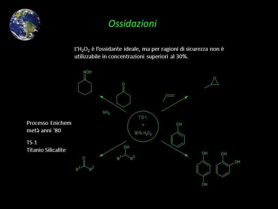 Ossidazioni L'H2O2 è l'ossidante ideale, ma per ragioni di sicurezza non è utilizzabile in concentrazioni superiori al 30%.