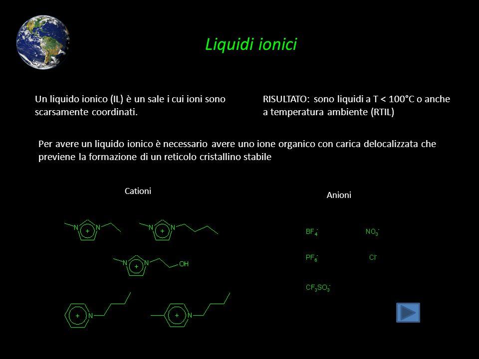 Liquidi ionici Un liquido ionico (IL) è un sale i cui ioni sono scarsamente coordinati.