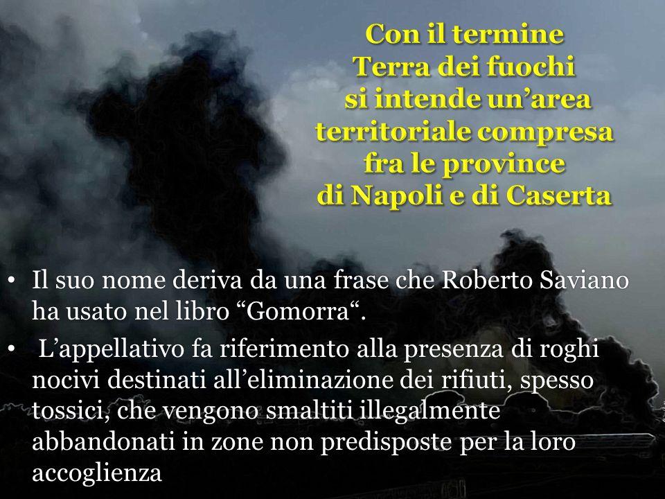 Con il termine Terra dei fuochi si intende un'area territoriale compresa fra le province di Napoli e di Caserta