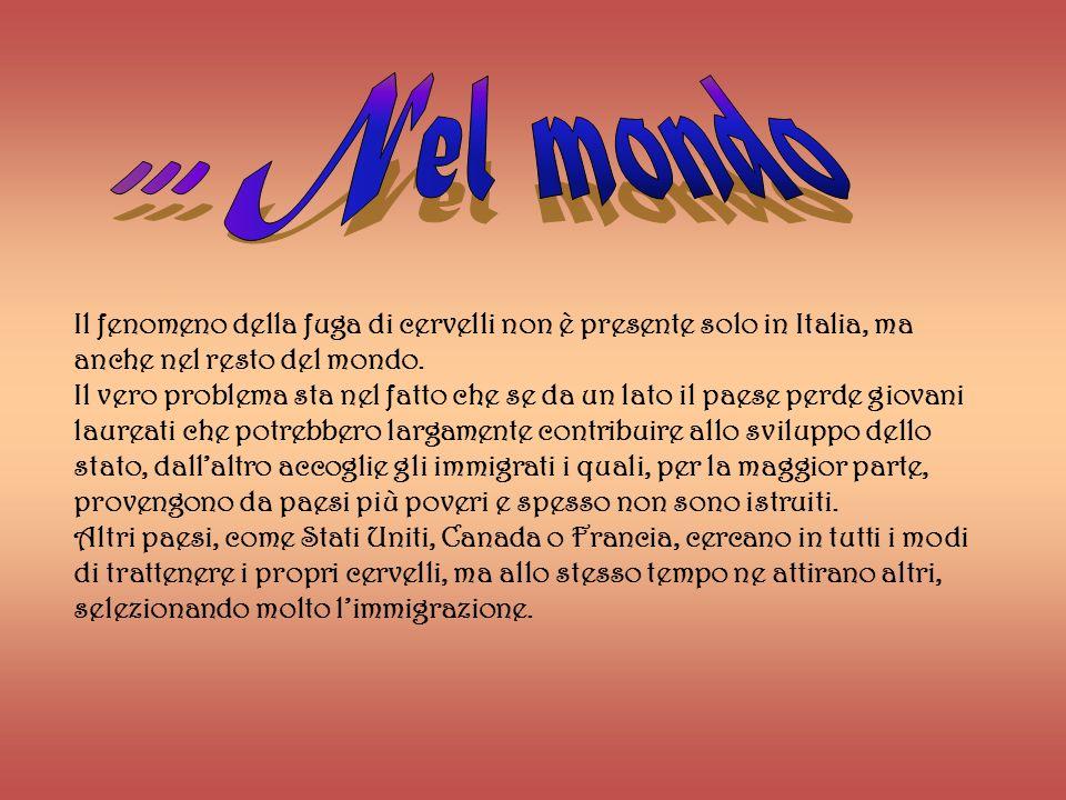 ... Nel mondo Il fenomeno della fuga di cervelli non è presente solo in Italia, ma anche nel resto del mondo.