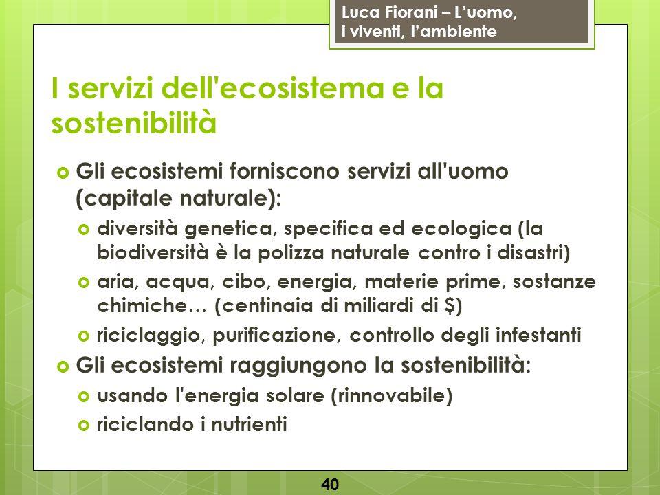 I servizi dell ecosistema e la sostenibilità