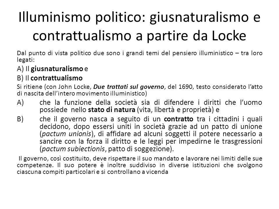 Illuminismo politico: giusnaturalismo e contrattualismo a partire da Locke