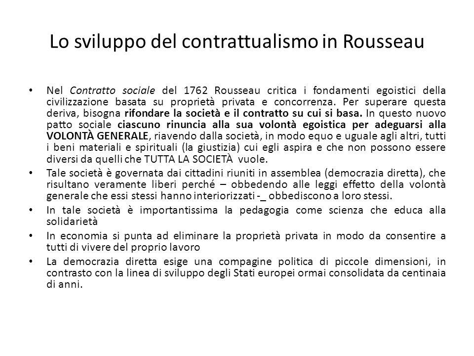 Lo sviluppo del contrattualismo in Rousseau