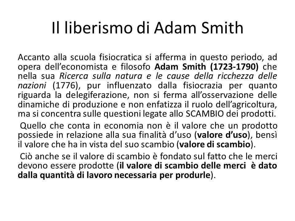 Il liberismo di Adam Smith
