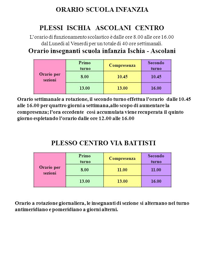 ORARIO SCUOLA INFANZIA PLESSI ISCHIA ASCOLANI CENTRO