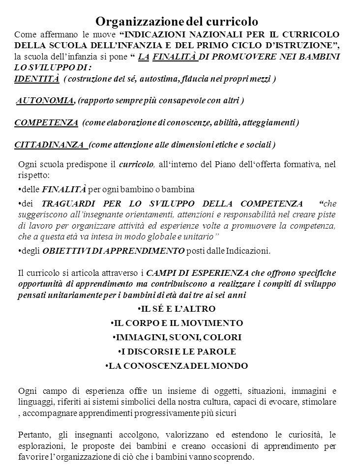 Organizzazione del curricolo LA CONOSCENZA DEL MONDO